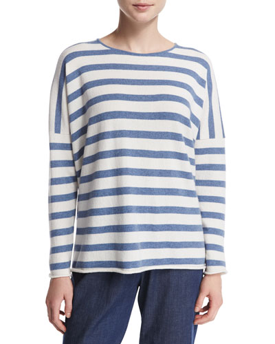 Slim-Sleeve Striped Cashmere Bateau Top, White/Denim Blue