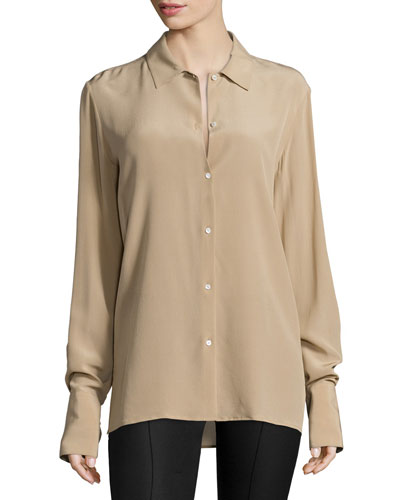 Nolta Washed Crepe de Chine Long-Sleeve Blouse, Heather Stone