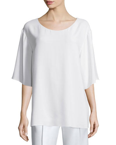 Tito Half-Sleeve Scoop-Neck Cady Top, Ivory