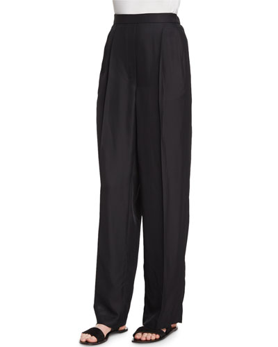 Daray Crepe Pleated Wide-Leg Trousers