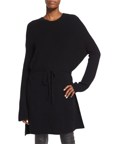 Ribbed Long-Sleeve Tunic Sweater