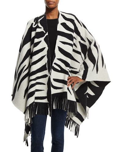 Zebra-Print Wool-Blend Poncho, Black/White