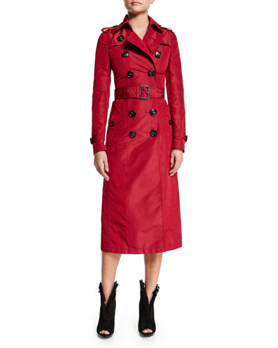 Mulberry Silk Trenchcoat, Dark Plum