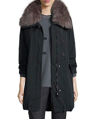 Parka w/ Fox Fur Collar, Onyx
