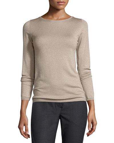 Metallic Cashmere-Blend Long-Sleeve Sweater, Bran