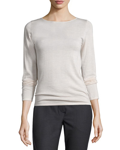 Long-Sleeve Cashmere/Silk Sweater, Orzo
