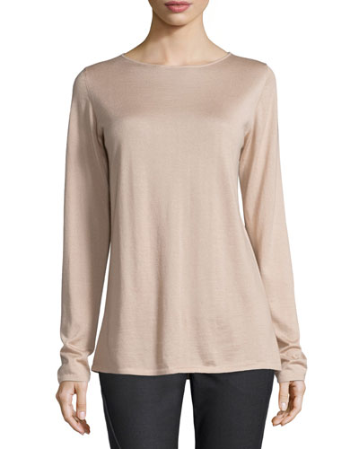 Long-Sleeve Cashmere/Silk Sweater, Cameo