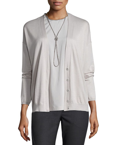 Long-Sleeve Cashmere/Silk Cardigan, Dove
