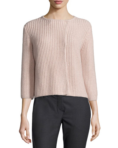 English Rib-Stitched Cashmere-Blend Paillette Sweater, Moonstone