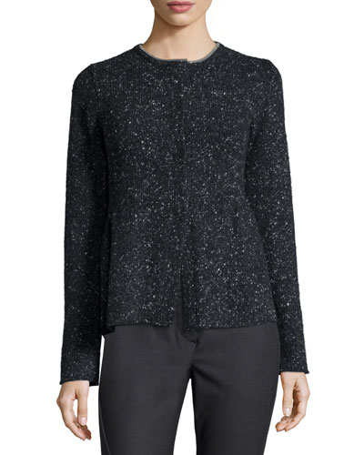 Speckled Piuma Cashmere-Blend Sweater, Onyx