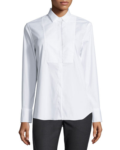 Pintucked Long-Sleeve Poplin Blouse, White
