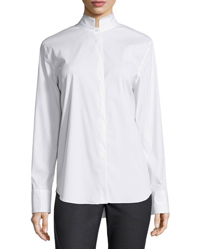 Poplin Stand-Collar Long-Sleeve Blouse, White