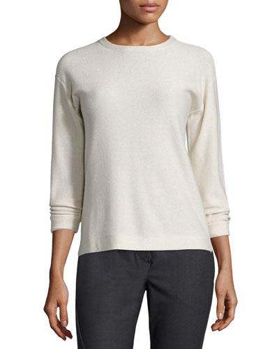 2-Ply Cashmere Crewneck Sweater, Vanilla