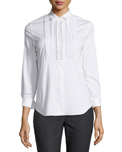 Poplin Blouse w/Monili-Beaded Bib, White