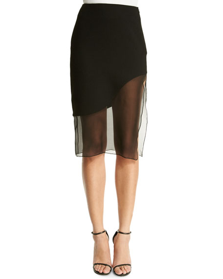 Sheer-Wave Silk Pencil Skirt, Black
