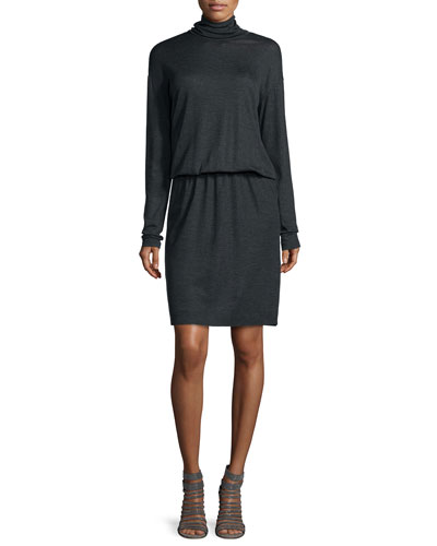 Wool Turtleneck Blouson Dress, Anthracite