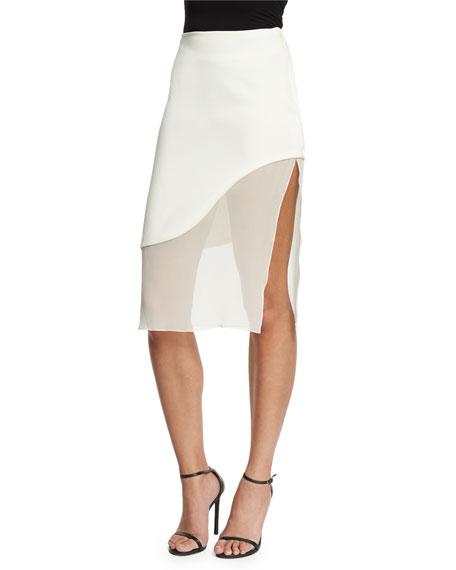 Sheer-Wave Silk Pencil Skirt, White