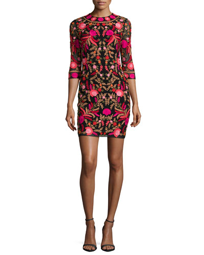 Embroidered 3/4-Sleeve Cocktail Dress, Red/Black/Multi