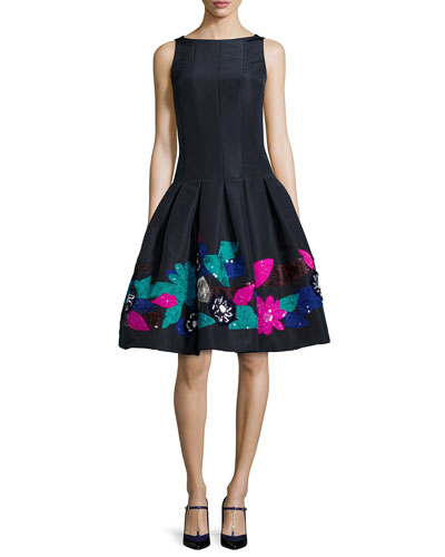Silk Faille Flower-Embroidered Cocktail Dress, Dark Navy