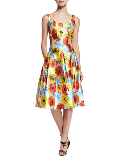 Floral-Print Seamed Fit-and-Flare Dress, Marigold