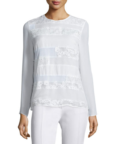 Long-Sleeve Patchwork Lace Top, Ivory