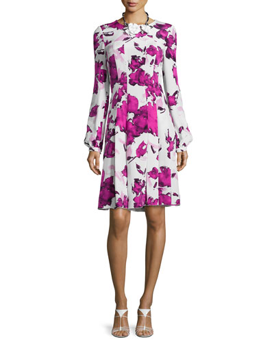 Watercolor-Print Fit-&-Flare Dress, Magenta
