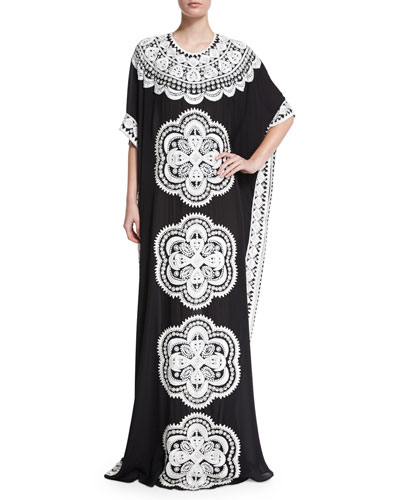 Scalloped Medallion-Embroidered Silk Caftan, Black/White