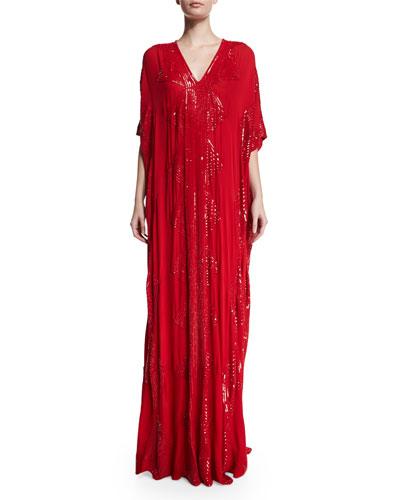Sequined V-Neck Silk Caftan, Red