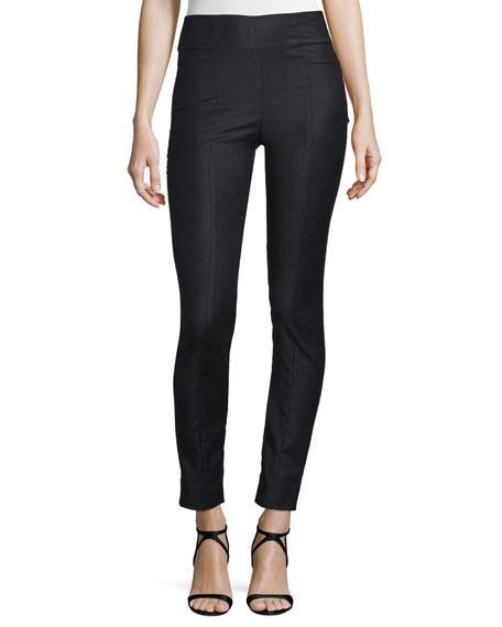 Straight-Leg Stretch-Wool Pants, Black