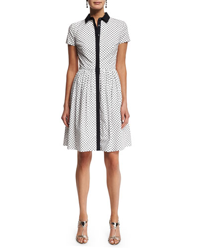 Short-Sleeve Polka-Dot Shirtdress, Black/White