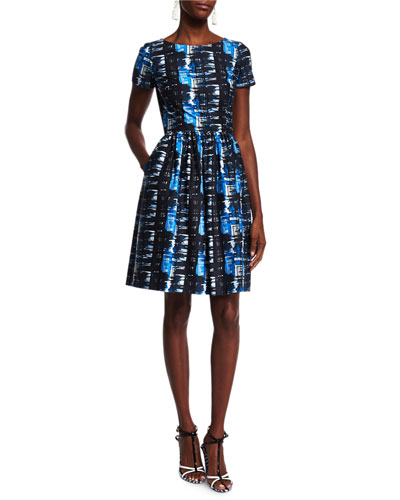Short-Sleeve Plaid-Print Dress, Marine Blue