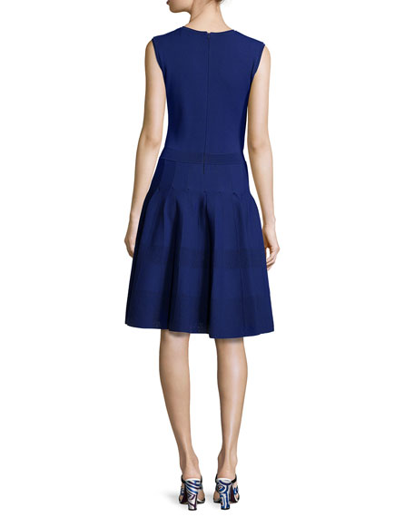 Sleeveless Jewel-Neck Button-Front Dress, Marine Blue