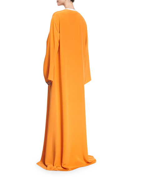 Embroidered Silk-Crepe Caftan Gown, Tangerine