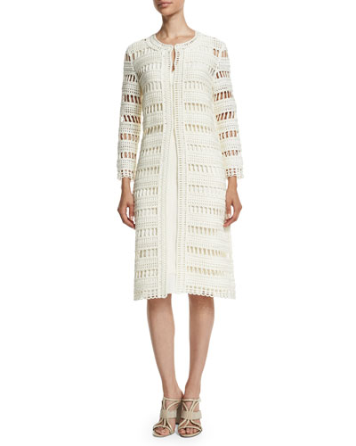 Spindle-Cord Openwork Sweater Jacket, Ivory