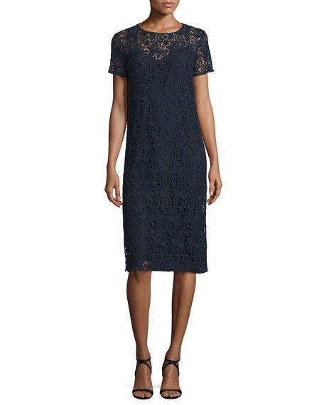 Short-Sleeve Cotton Lace Pencil Dress, Navy