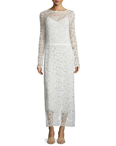 Long-Sleeve Lace Midi Dress, White