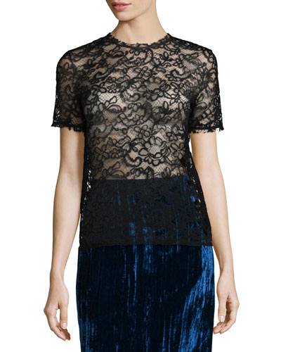Short-Sleeve Cornelli Lace Tee, Black