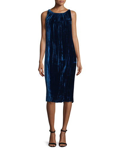 Sleeveless Gathered Velvet Dress, Navy