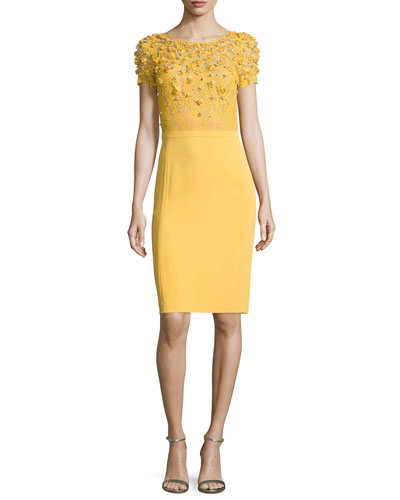 Short-Sleeve Embroidered-Bodice Sheath Dress, Honeybee