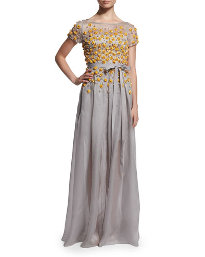 Short-Sleeve Degrade Floral Gown, Zinc/Honeybee