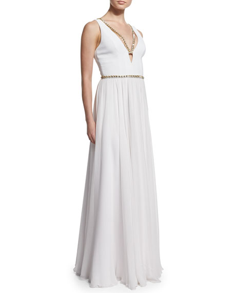 Metallic-Trimmed V-Neck Gown, White