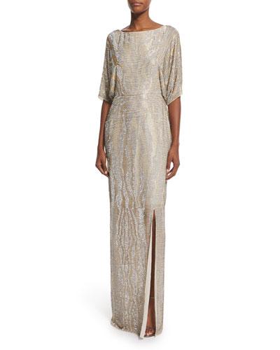 Fully Beaded Kimono-Sleeve Gown, Lunar