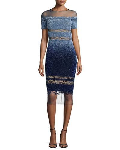 Short-Sleeve Signature Ombre Sequin Dress, Light Blue/Navy