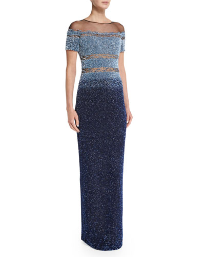 Short-Sleeve Ombre Sequin Gown, Light Blue/Navy