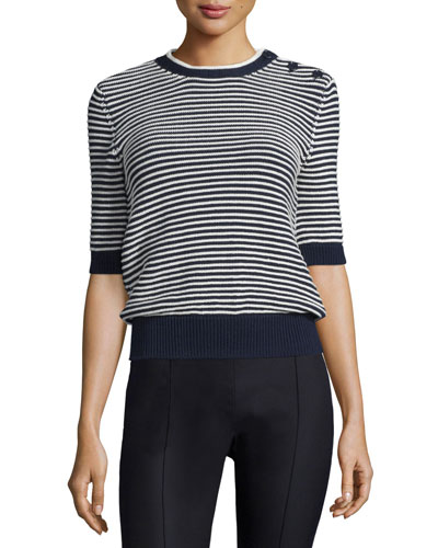 Striped Sailor Knit Half-Sleeve Sweater, Black/White