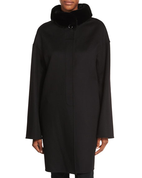 Fur-Trimmed Double-Face Wool-Cashmere Coat, Black