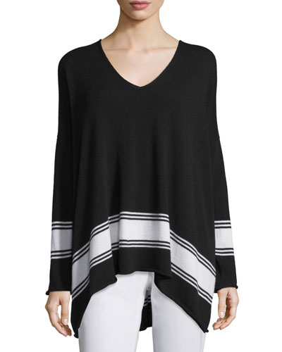 V-Neck Striped Cashmere Sweater, Black/White