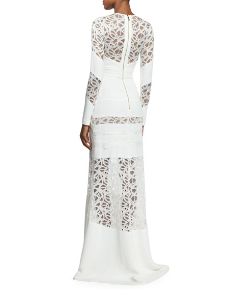 Long-Sleeve Lace-Trimmed Cady Gown, Gardenia