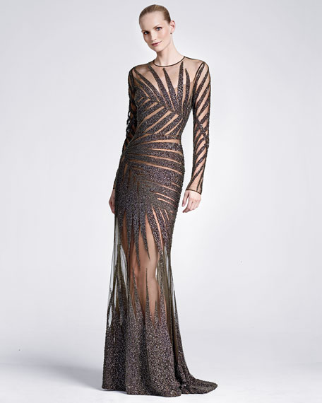 Long-Sleeve Palm-Embroidered Gown, Black