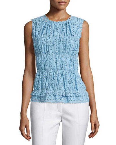 Sleeveless Ruched Eyelet Top, Sky Blue